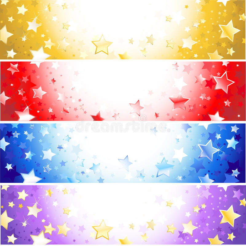 Four banners with sparkling stars royalty free illustration