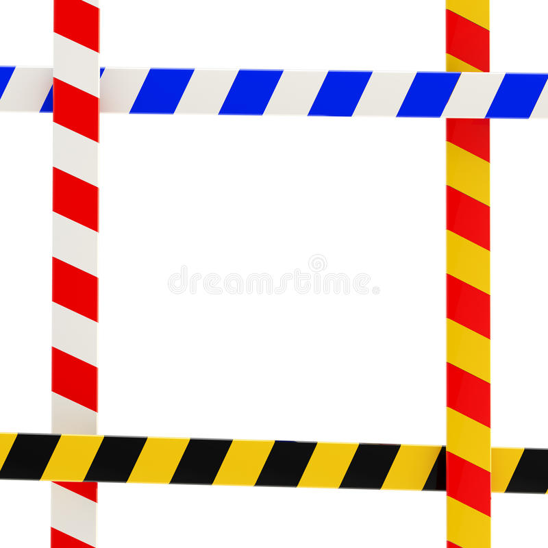 Four barrier tapes forming a colorful glossy frame royalty free illustration