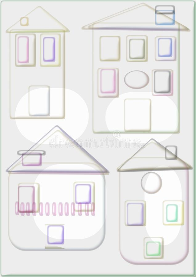 Beautiful houses to live in them. Four beautiful houses with fireplace and several plants to stroke on gray background vector illustration