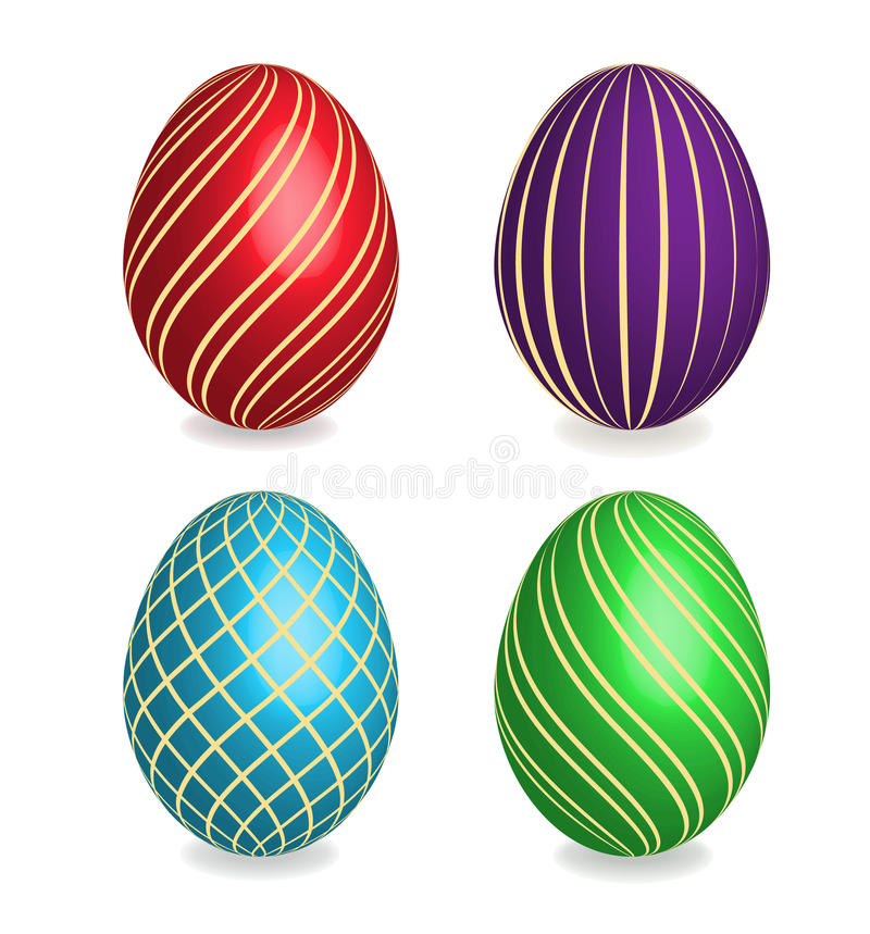 Four beautiful painted easter eggs. stock photo