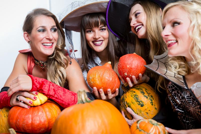 Four beautiful women acting as witches joining their malicious forces royalty free stock image