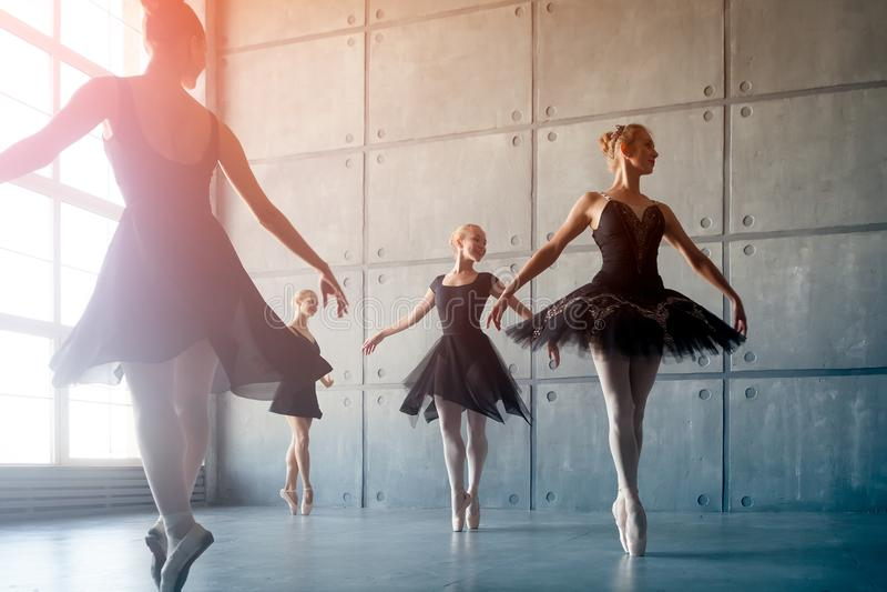 Four beautiful ballerinas stock image
