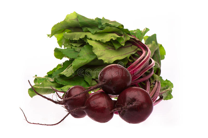 Four beetroots with leaves stock images