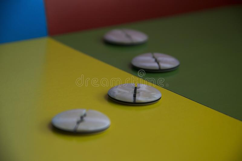 Beige round buttons stock photo