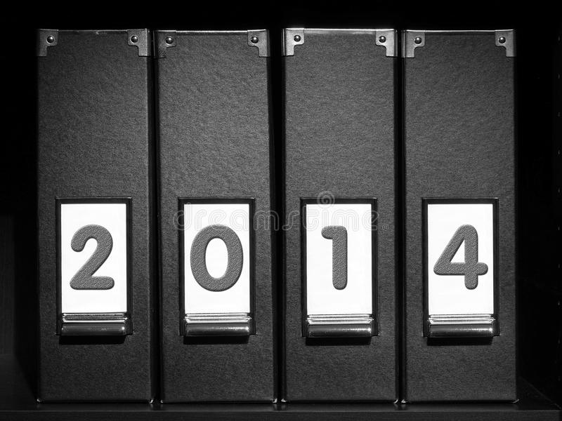 Four binders with 2014 digits royalty free stock images
