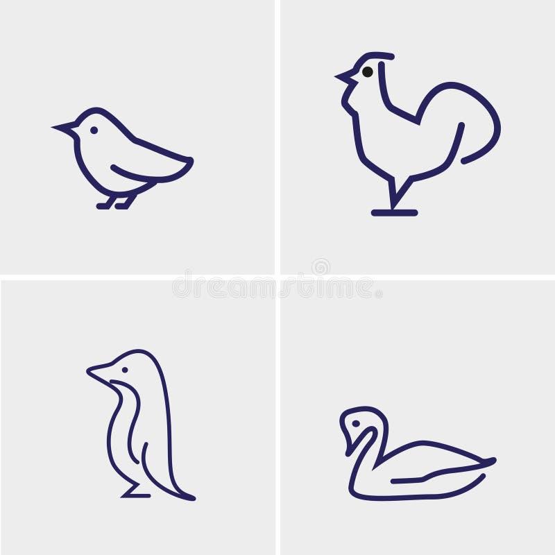 Four birds set vector stock image
