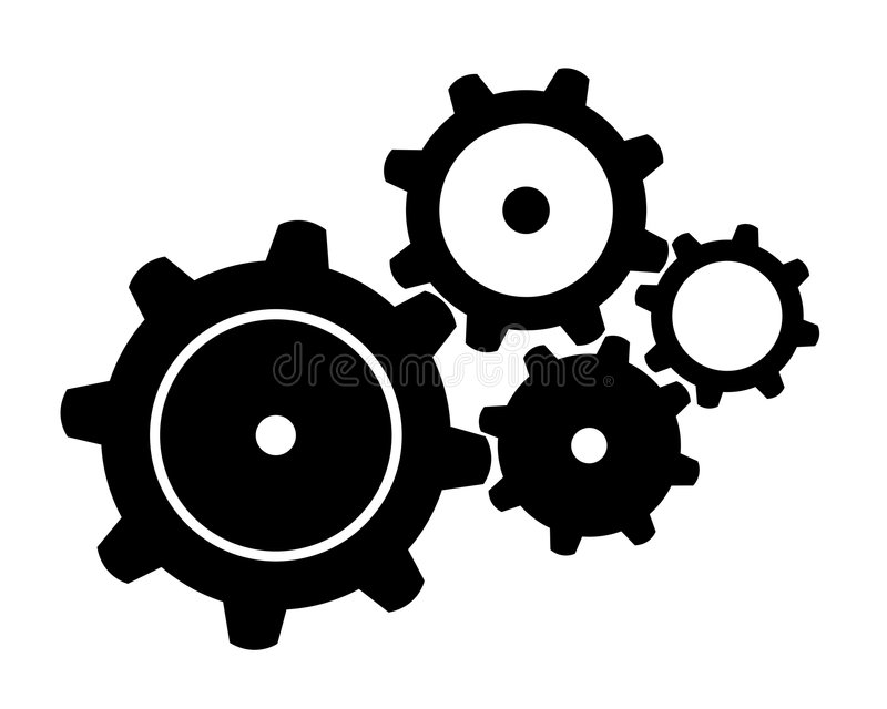 Four Black Gears. Illustration of four black gears isolated over white stock illustration