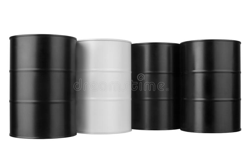 Four black and white metal barrels isolated close up, oil drum, steel keg, tin canister, aluminium cask, petroleum storage package. Four black and white metal royalty free stock photo