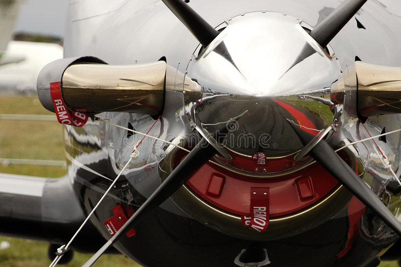 Four blade propeller plane royalty free stock image