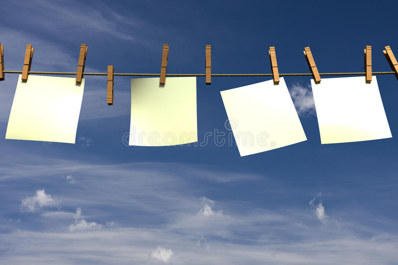 Download Four Blank Pieces Of Paper Hanging On A Rope Stock Illustration - Illustration: 12275928