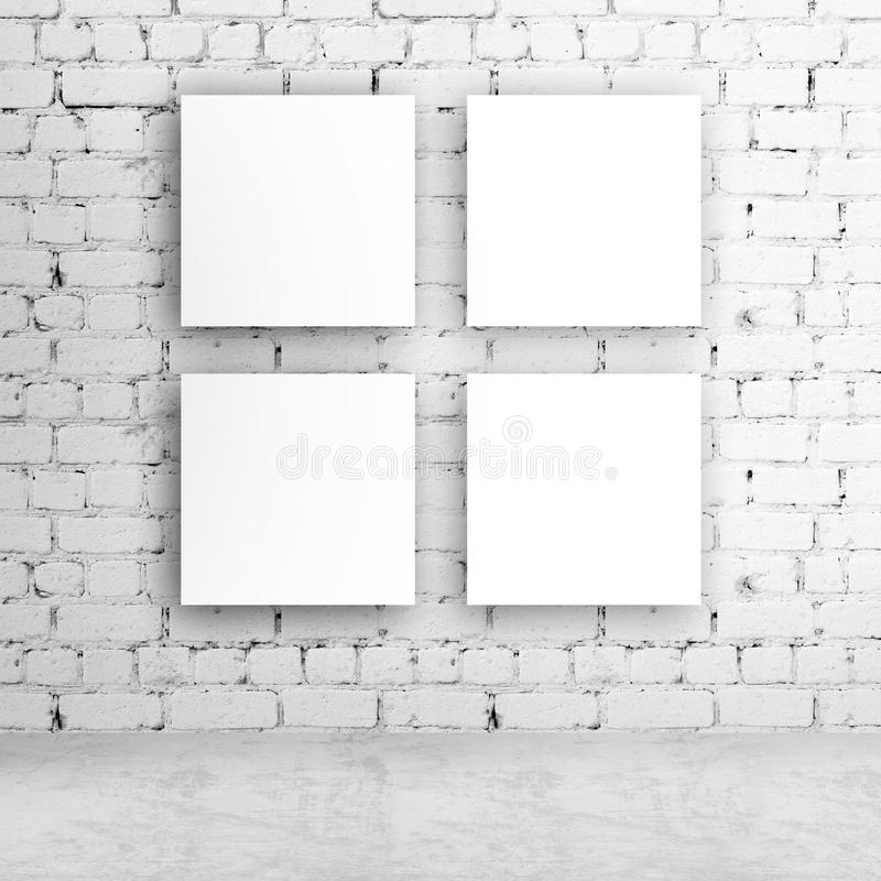 Four blank poster on wall. Four blank poster on brick wall stock photos
