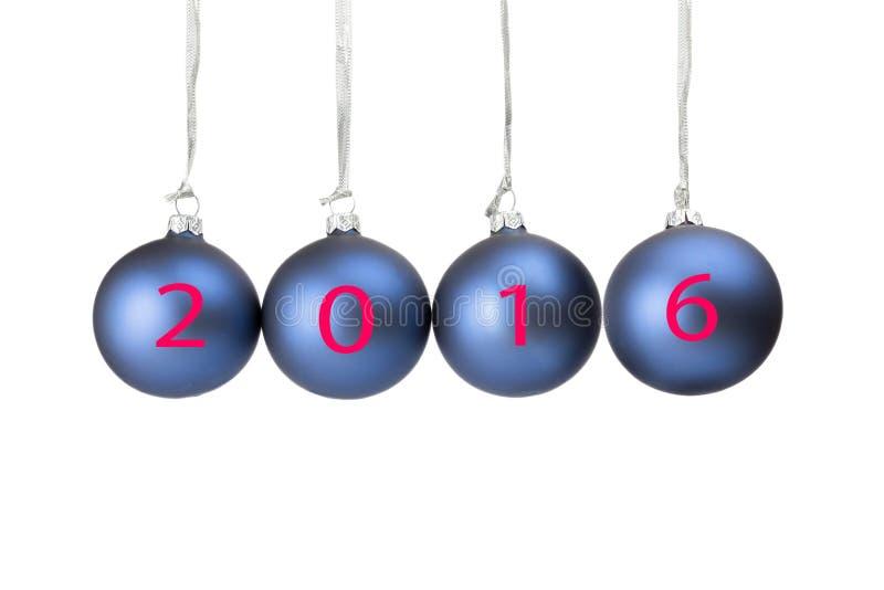 Four blue christmas baubles symbolizing new year 2016 stock photos