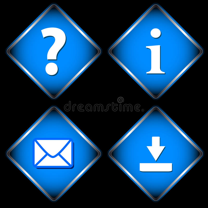 Four blue web icons vector illustration