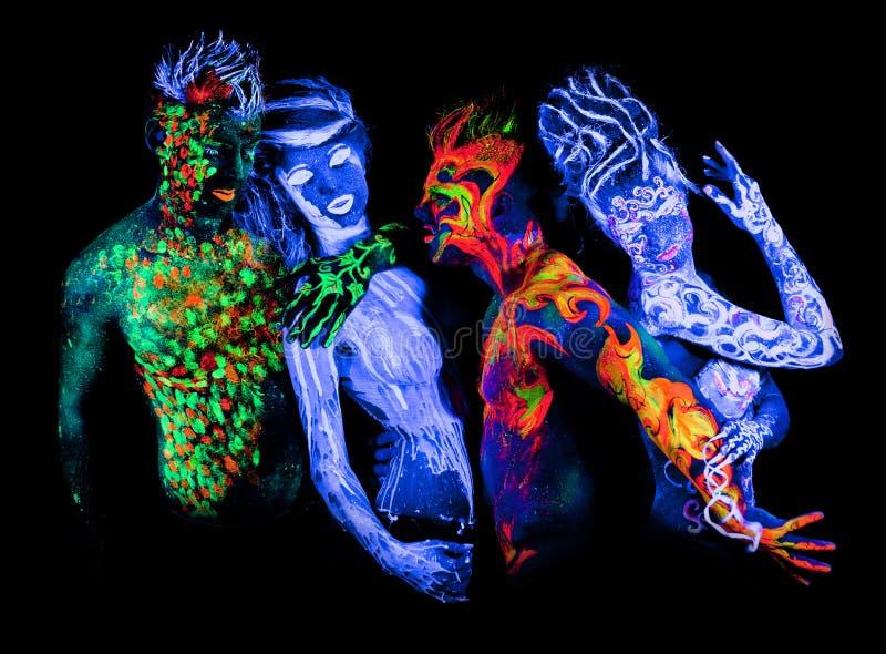 Body Art Glowing In Ultraviolet Light Stock Photo