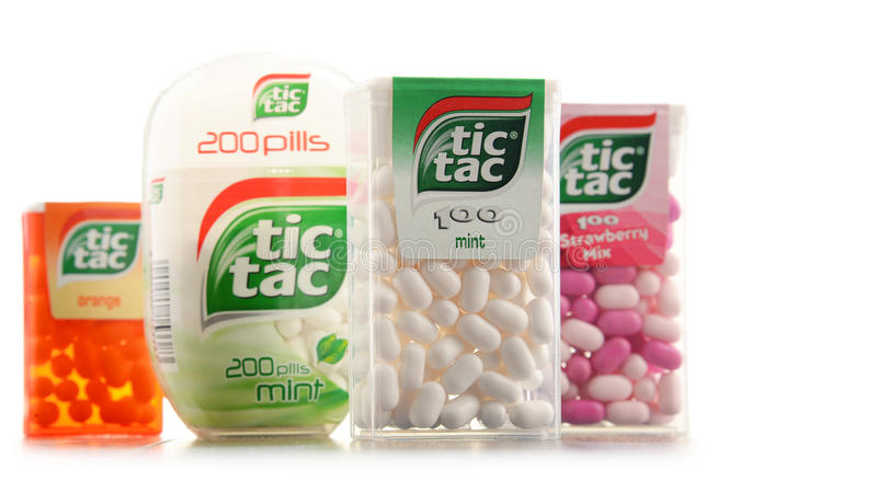 Four boxes of Tic Tac mints. POZNAN, POLAND - JAN 19, 2017: Tic Tac is a brand of hard mints, manufactured by the Italian confectioner Ferrero, available in a stock image