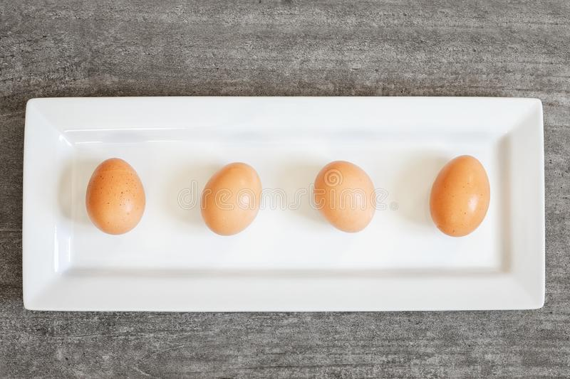 Four brown eggs on white plate stock images