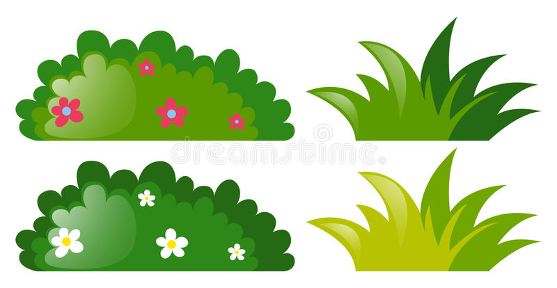 Four bushes with and without flowers royalty free illustration