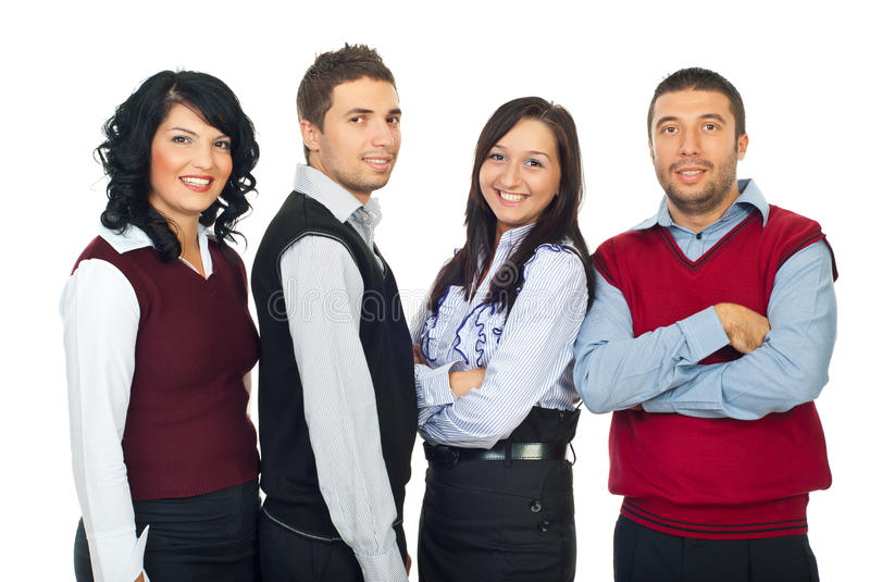 Four business people in a row stock photos