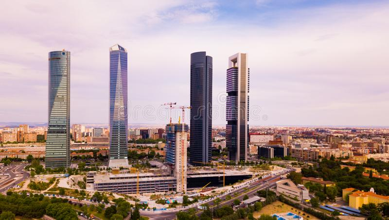 Four business skyscrapers (Cuatro Torres) of the business district in Madrid, Spain royalty free stock photos