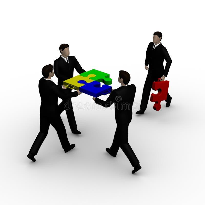 Four businessmans and colour puzzle stock illustration