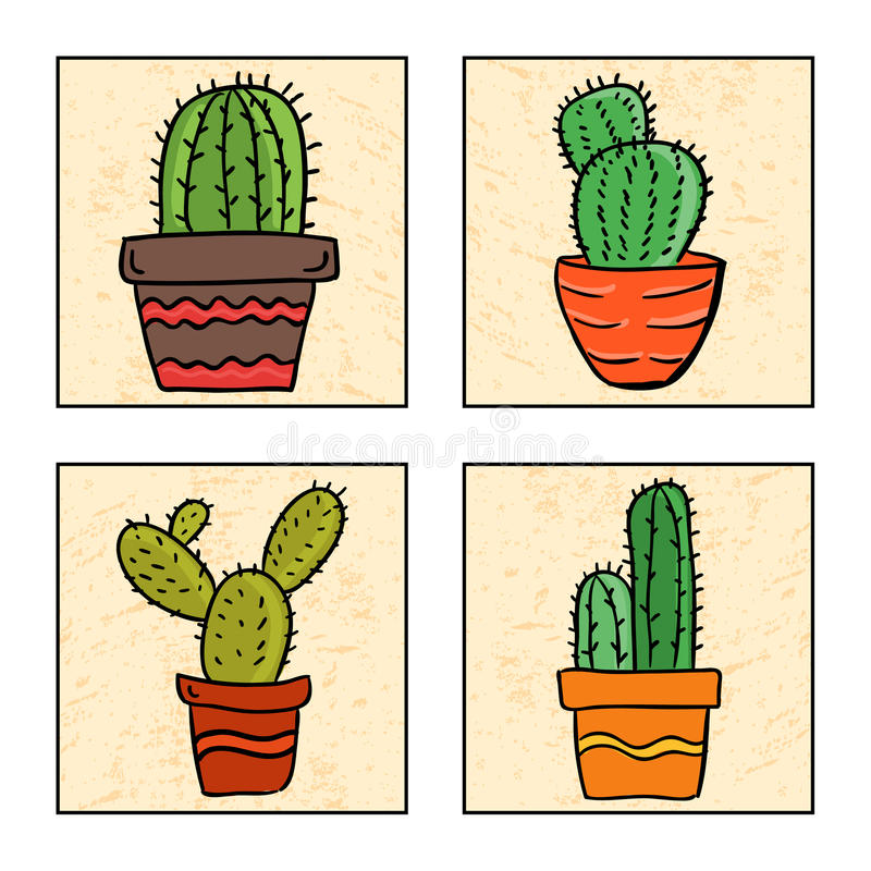 Four cactus in a pot vector illustration