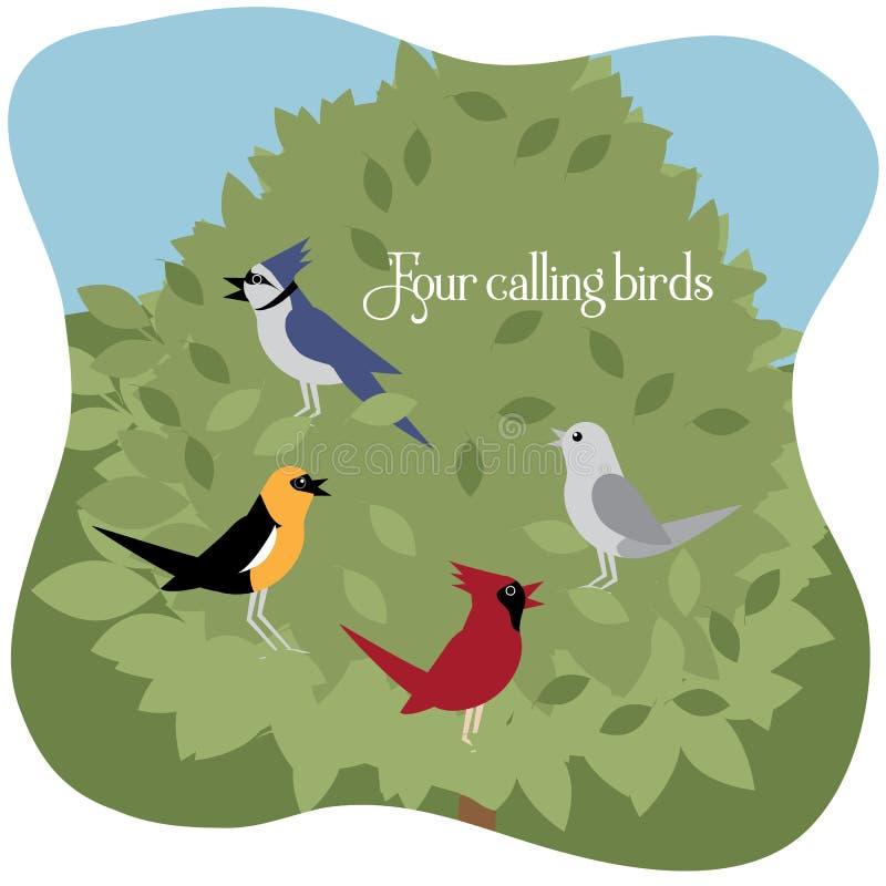 Four calling birds - Twelve Days of Christmas royalty free illustration