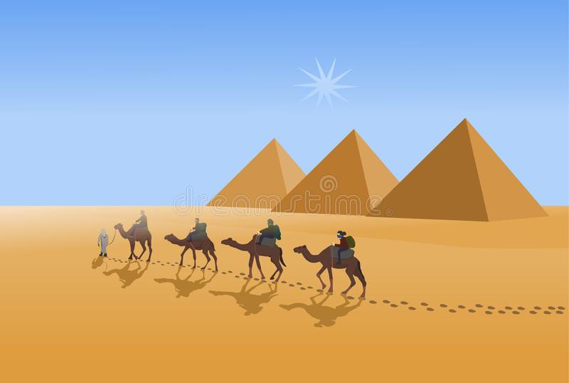 Four camel riders are hiking in the hot sun in the desert with pyramid background. Four camel riders are hiking in the hot sun in the desert with pyramid and stock illustration