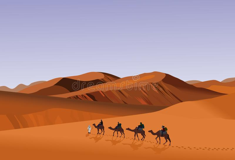 Four camel riders are hiking in the hot sun in the desert with sand mountain background. Four camel riders are hiking in the hot sun in the desert with sand vector illustration