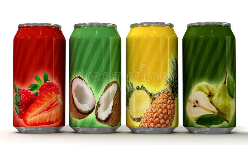 Natural fruit juice on cans. Four generic blank cans of juice vector illustration