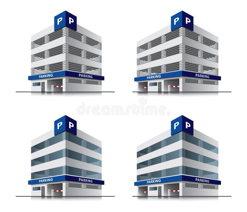 Four cartoon car parking vector buildings vector illustration