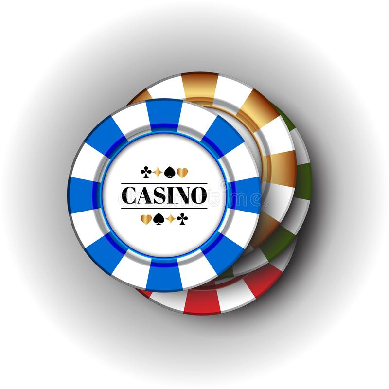 Four colorful casino Chips on the white-grey background. Four casino Chips on the white-grey background royalty free illustration