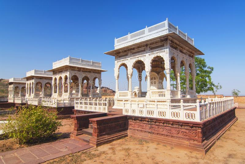 Four cenotaphs Jaswant Thada Jodhpur Rajasthan India stock photos