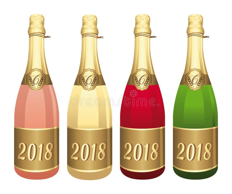 2018 Four Champagne bottles vector illustration. Congratulations or happy new year ! royalty free illustration