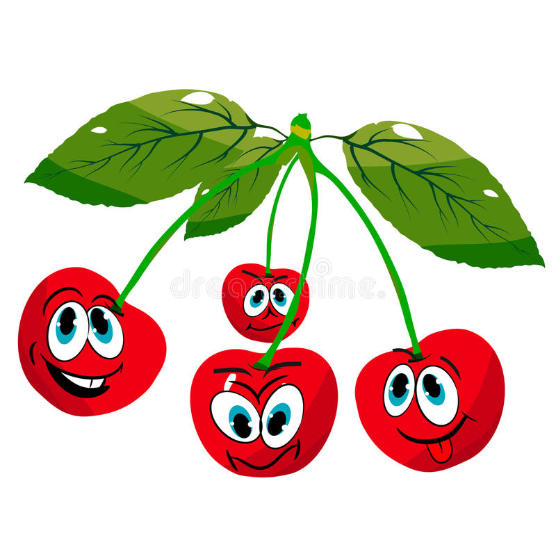 Four cheerful cherries on twigs, cartoon on a white background. Vector royalty free illustration