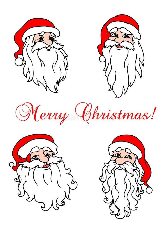Download Four Cheerful Santa Clouses Stock Vector - Illustration of christmas, season: 33855818