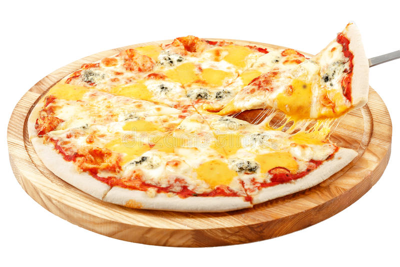 Four Cheese Pizza, mozzarella cheese Dorblu, cheddar cheese, parmesan cheese royalty free stock images