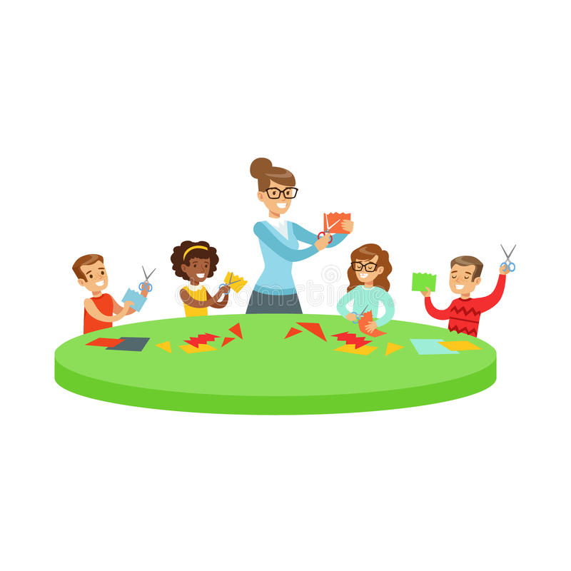 Four Children In Art Class Doing Applique Cartoon Illustration With Elementary School Kids And Their Teacher In. Creativity Lesson. Happy Schoolkids Doing Paper stock illustration