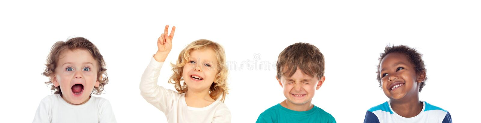 Four children making different expressions stock photography