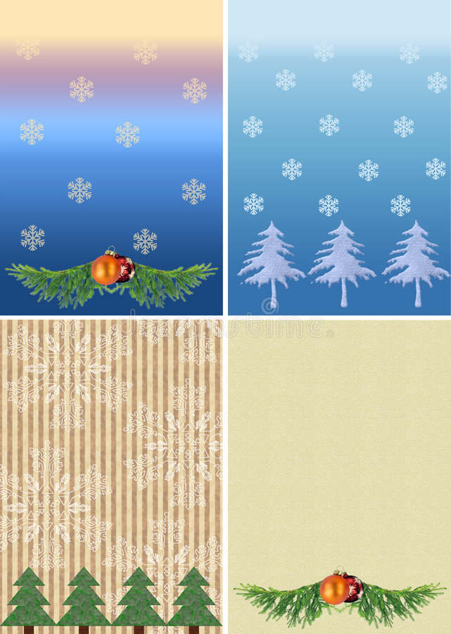 Download Four christmas backgrounds stock illustration. Image of flakes - 5335753