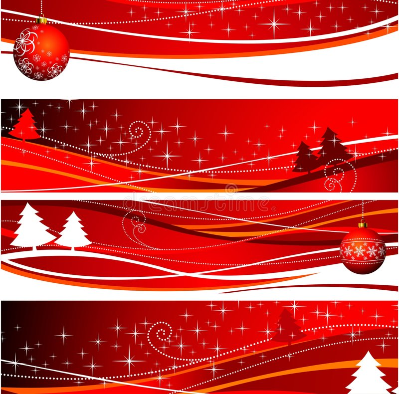 Four christmas banner illustration. With red ball and tree royalty free illustration