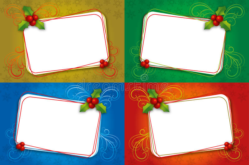 Download Four Christmas Card Blank Frame With Mistletoe Stock Vector - Illustration of mailing, curls: 26423354