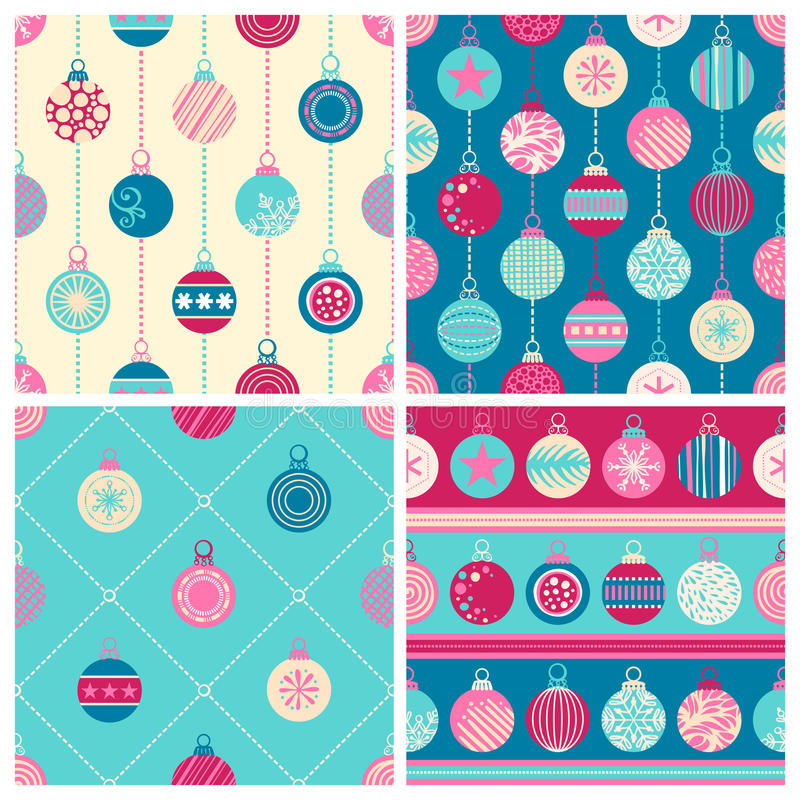 Four Christmas seamless patterns royalty free illustration