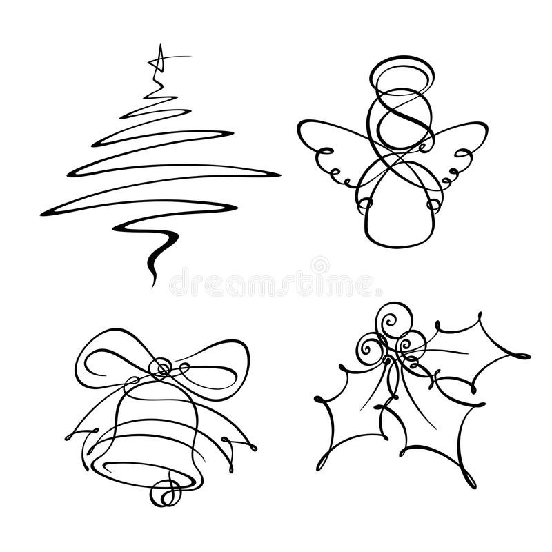 Four Christmas Single Line Icons. Hand-drowned line art icons. The Christmas tree and angel were developed with a single line the bell with two and the holly royalty free illustration