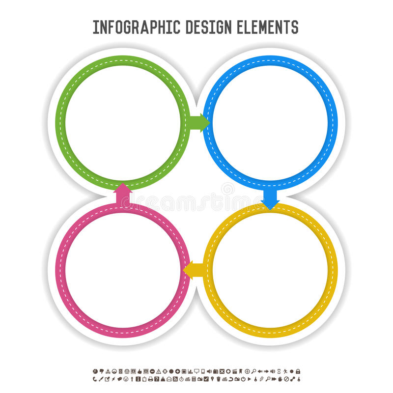Four Circle Infographics. Vector illustration of colorful four circle infographics vector illustration