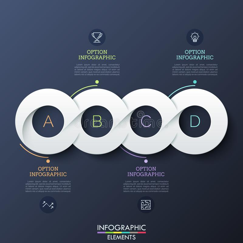 Four circular paper white elements successively connected into horizontal line, pictograms and text boxes. Realistic royalty free illustration