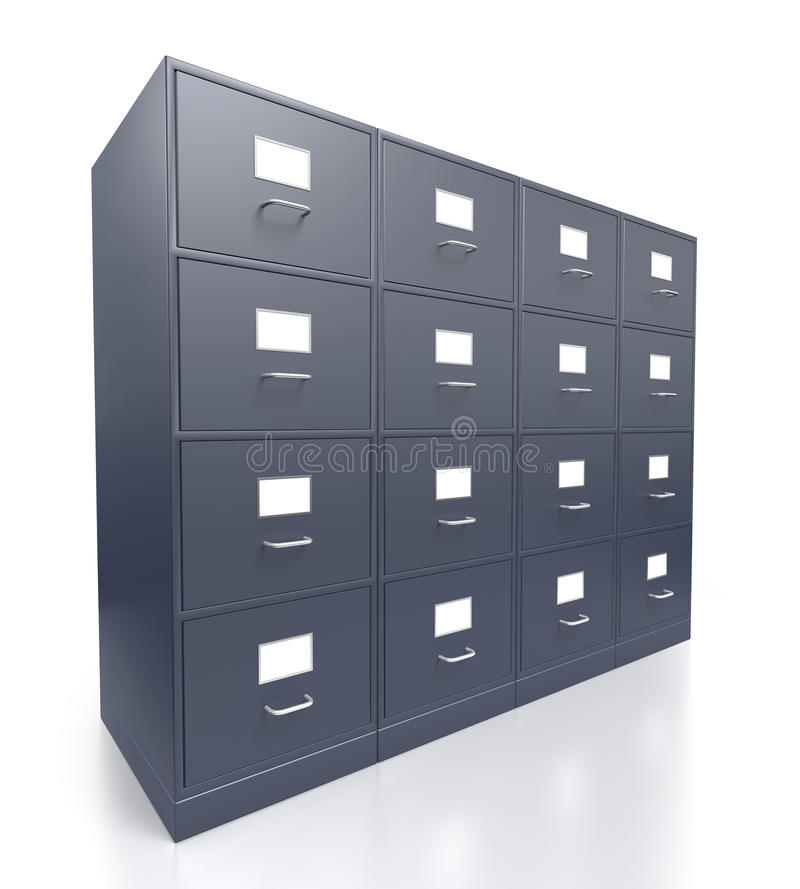 Four closed grey office filing cabinets stock photo