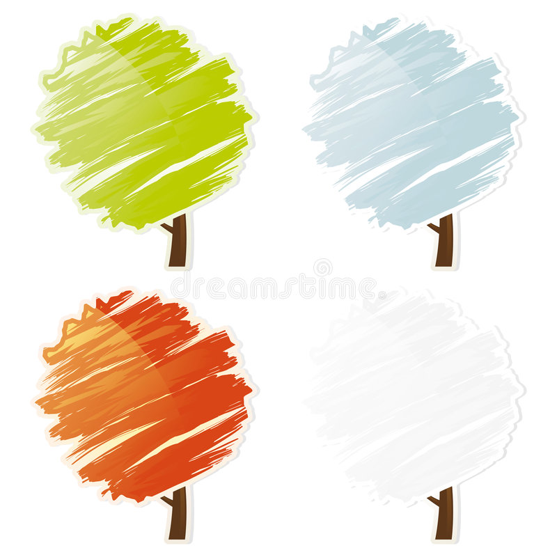 Four color abstract tree icon set stock illustration