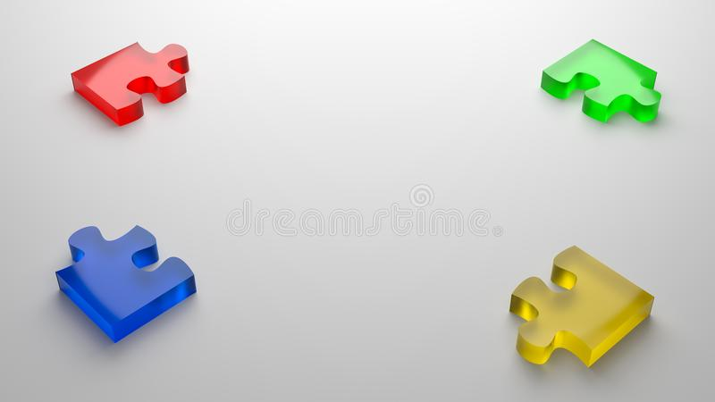 Puzzle Cooperation Concept Background. Four Color Glassy Puzzle Pieces with Copyspace 3D Illustration on Gray Background, Cooperation Concept stock illustration