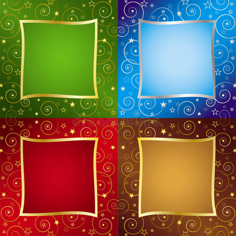 Four Color Holiday Backgrounds stock illustration