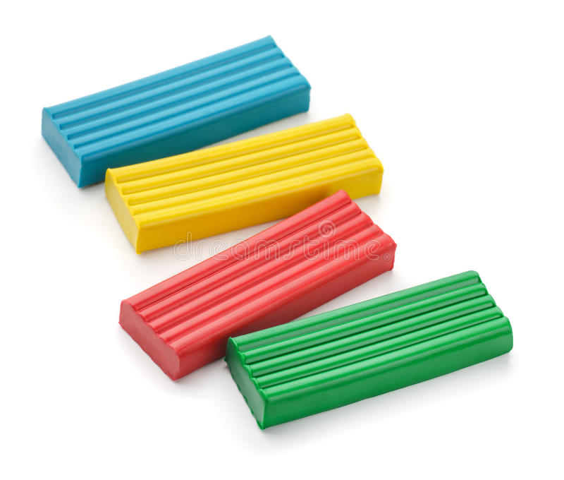 Four color modeling clay bricks royalty free stock photo